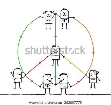 connected people making a peace and love sign - stock photo
