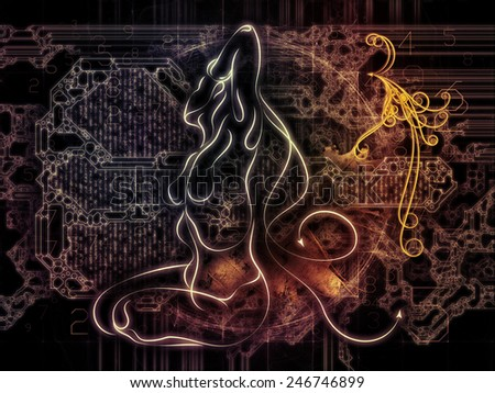 Connected Reality series. Composition of human lines, numbers, lights suitable as a backdrop for the projects on  metaphysics, religion, philosophy, science and modern technology - stock photo