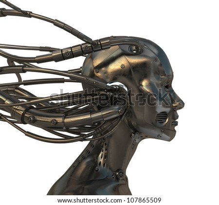 Connected robotic head in profile - stock photo