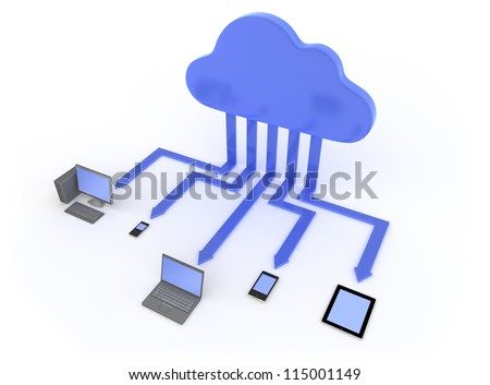 Connected to the Cloud 3D illustration showing cloud service enabled devices Isolated on White Background - stock photo