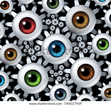 Connected vision network as a business concept with a group of human eye balls shaped as gear wheels and cogs connecting together in a team partnership to form a strong organization for success. - stock photo