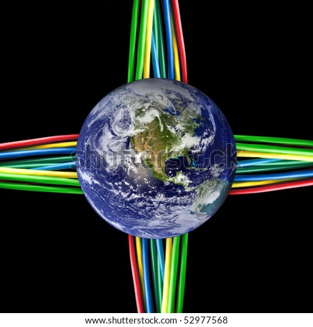Connected world - Colored cables wired to the Earth Globe. (Earth map courtesy of NASA http://visibleearth.nasa.gov)