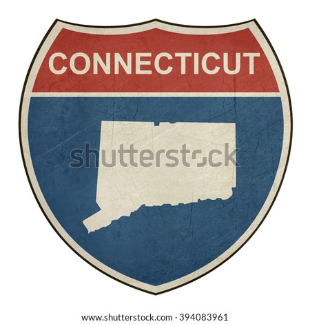Connecticut American interstate highway road shield isolated on a white background. - stock photo