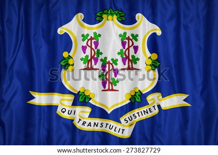 Connecticut flag pattern with a peace on fabric texture,retro vintage style - stock photo