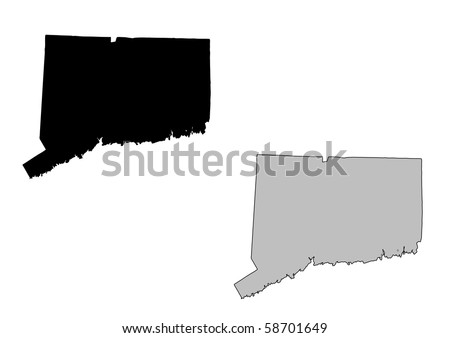 Connecticut map. Black and white. Mercator projection. - stock photo