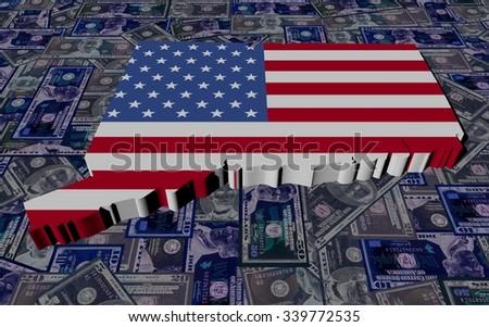 Connecticut map flag on dollars illustration - stock photo