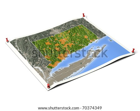 Connecticut on unfolded map sheet with thumbtacks. Map colored according to vegetation, with borders and major urban areas. Includes clip path for the background.