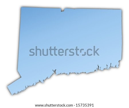 Connecticut Usa Map Light Blue Map With Shadow High Resolution Mercator Projection