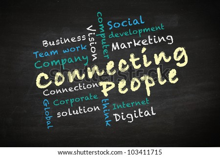 Connecting people concept and other related words, drawn on blackboard - stock photo