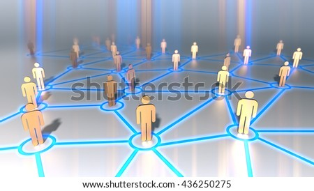connecting people,social network symbol.3D rendering.