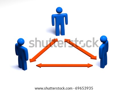 Connection between three people - conceptual picture
