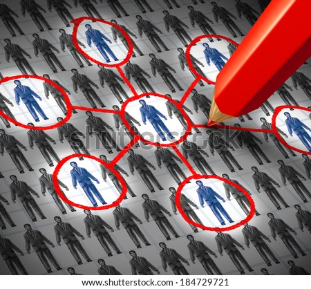 Connection business human resource concept as an infographic of a group of generic business people symbols with some that are highlighted with a red pencil as a metaphor for building social links. - stock photo