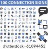 connection, communication, link, internet, online, phone, computer network, hosting, system administration, router, laptop, tower, antenna, equipment, lan, broadcasting, technology icons, signs vector - stock photo