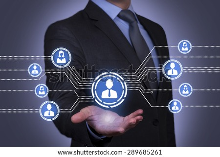 Connection Concept on Businessman Hand - stock photo