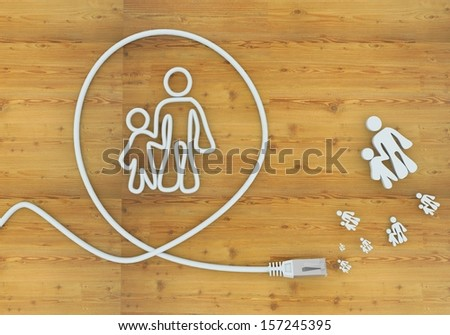 connection 3d graphic with connected father and son icon formed by an cable - stock photo