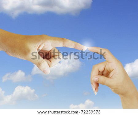 Connection hand - stock photo