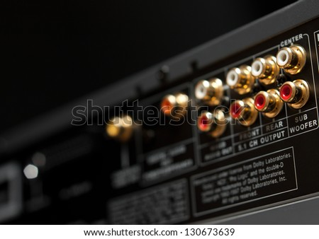 Connection panel of a dvd player - stock photo