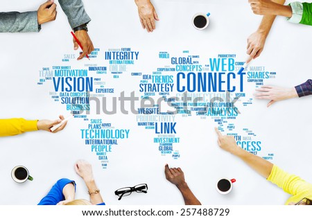 Connection Social Media Internet Link Networking Concept - stock photo