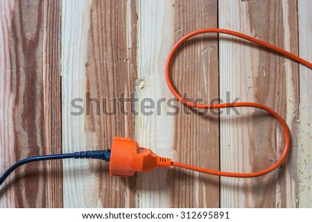 Connection wires to outlet. The turning on of electrical apparatus, instruments - stock photo