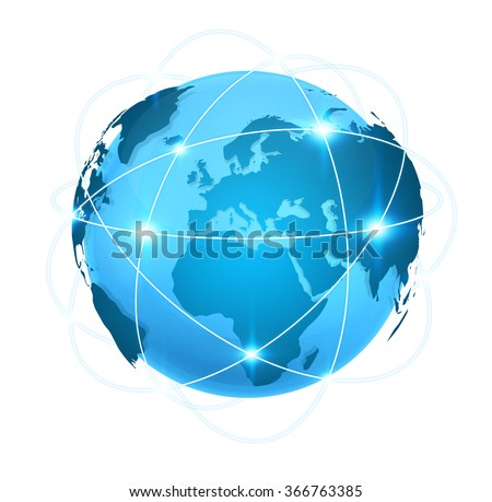 Connections between different places of the globe on a blue world map - stock photo