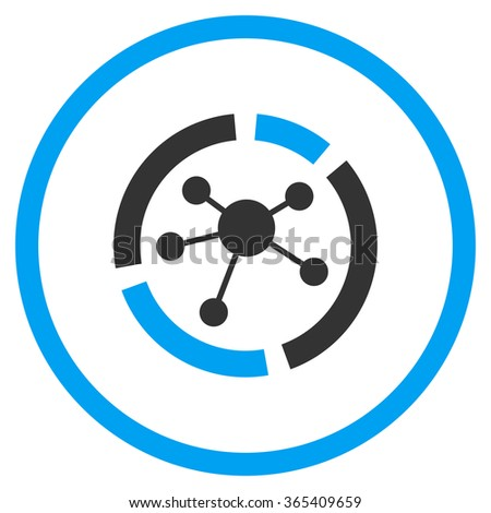 Connections Diagram glyph icon. Style is bicolor flat circled symbol, blue and gray colors, rounded angles, white background. - stock photo