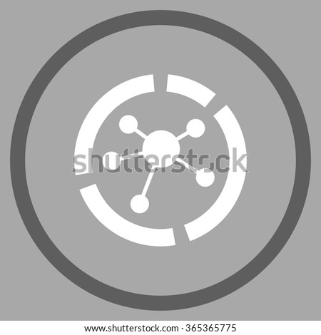 Connections Diagram glyph icon. Style is bicolor flat circled symbol, dark gray and white colors, rounded angles, silver background. - stock photo