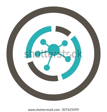 Connections diagram glyph icon. This rounded flat symbol is drawn with grey and cyan colors on a white background. - stock photo