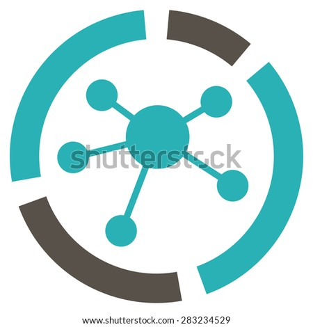 Connections diagram icon from Business Bicolor Set. Glyph style: bicolor flat symbol, grey and cyan colors, rounded angles, white background. - stock photo