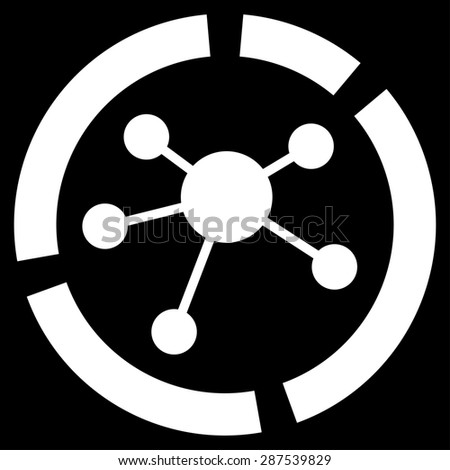 Connections diagram icon from Business Bicolor Set. Glyph style: flat symbol, white color, rounded angles, black background. - stock photo