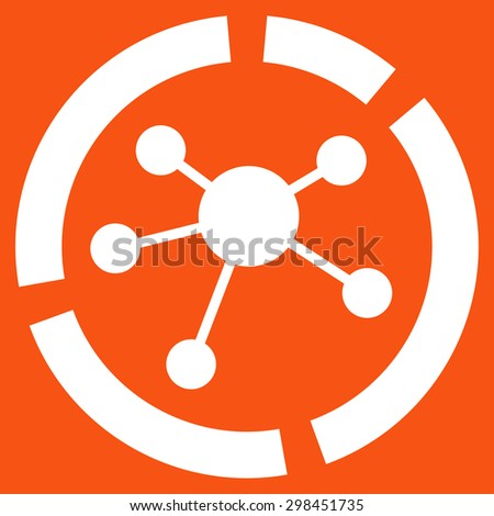 Connections diagram icon from Business Bicolor Set. Glyph style is flat symbol, white color, rounded angles, orange background. - stock photo