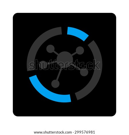 Connections diagram icon. Glyph style is bicolor flat symbol, gray and light blue colors, black rounded square button, white background. - stock photo