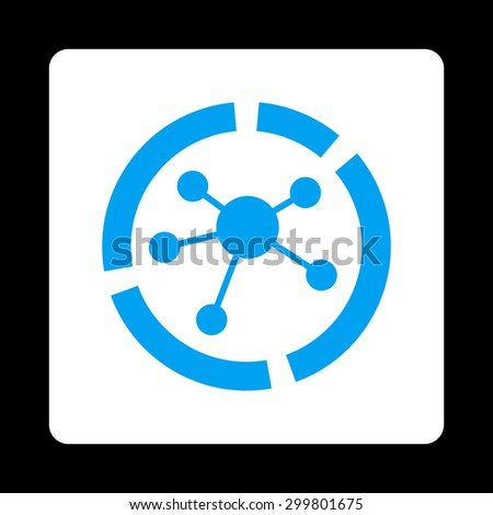Connections diagram icon. Glyph style is blue and white colors, flat rounded square button on a black background. - stock photo