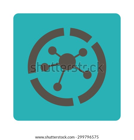 Connections diagram icon. Glyph style is grey and cyan colors, flat rounded square button on a white background. - stock photo