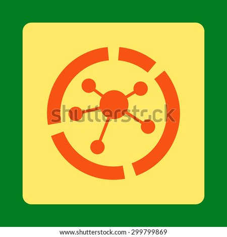 Connections diagram icon. Glyph style is orange and yellow colors, flat rounded square button on a green background. - stock photo