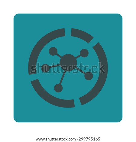 Connections diagram icon. Glyph style is soft blue colors, flat rounded square button on a white background. - stock photo