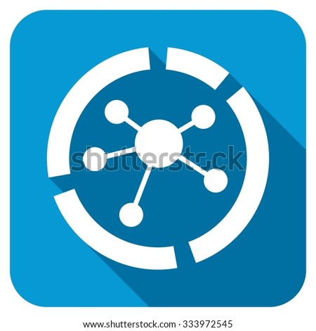 Connections diagram icon. Longshadow style is blue button with white symbol. - stock photo
