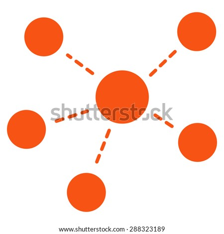 Connections icon from Business Bicolor Set. Glyph style: flat symbols, orange color, rounded angles, white background. - stock photo