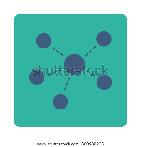 Connections icon. Glyph style is cobalt and cyan colors, flat rounded square button on a white background. - stock photo