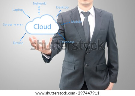 Connectivity Cloud computing concept on hand of a businessman in suit - stock photo