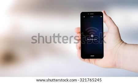 connectivity concept: no network sign on digital generated phone screen with sea background. All screen graphics are made up. - stock photo