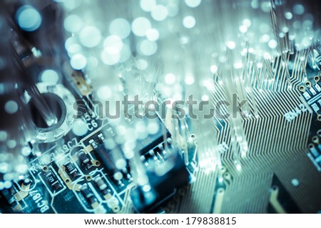 Connectivity.Fiber optic cables, fibre connection, telecomunications concept. - stock photo