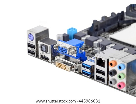 Connector of computer motherboard, isolated on a white background - stock photo