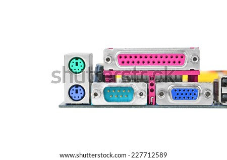 Connector of computer motherboard, isolated on white background - stock photo