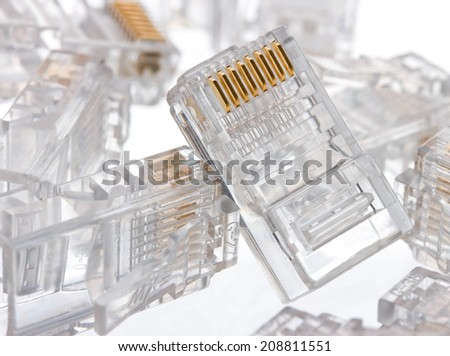 Connector rj-45 close-up on white background isolate - stock photo