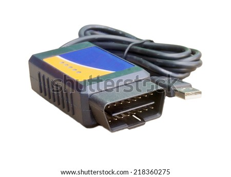 Connector used to read data from the On Board Diagnosis OBD computer in a vehicle usb - stock photo