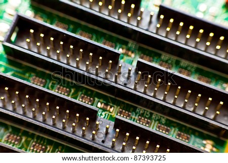 Connectors of an IDE card - stock photo