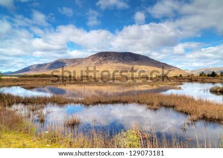 Connemara lake and mountains in Co. Mayo, Ireland - stock photo