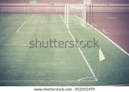 Conner of soccer field with flag