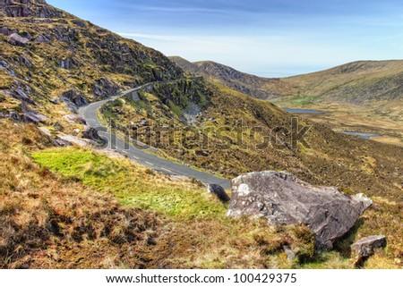 Conor Pass in Dingle, Ireland. - stock photo