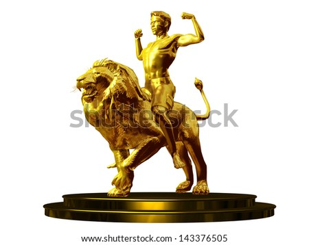 conqueror, golden figurine of a young man riding a lion - stock photo